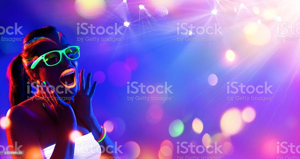 Disco Woman With Neon Makeup stock photo