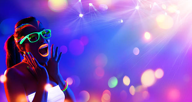 disco woman with neon makeup - disco lights stock pictures, royalty-free photos & images