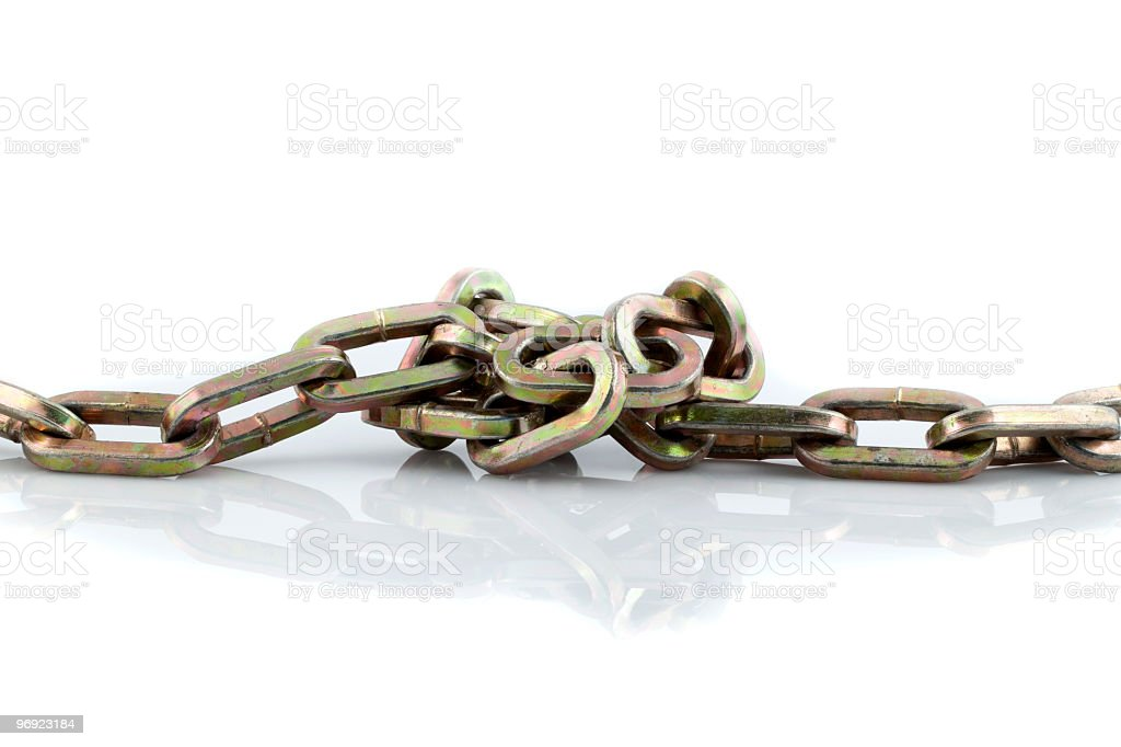 Discolored chain with knot royalty-free stock photo