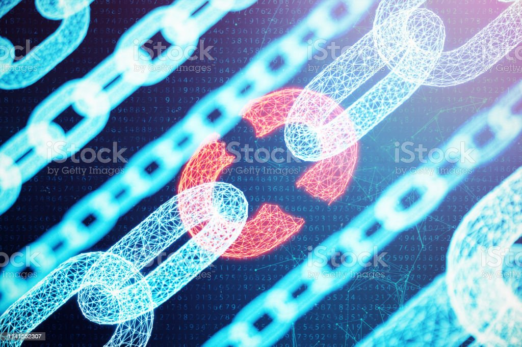 Disconnected, broken chain, digital block chain technology. Cryptocurrency, concept of digital code. Block chain concept. Low polygonal grid of triangles glowing in blue dot network. 3D illustration stock photo