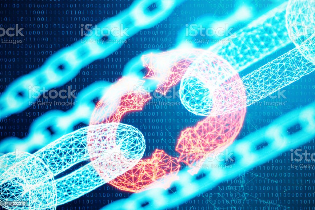 Disconnected, broken chain, digital block chain technology. Cryptocurrency, concept of digital code. Block chain concept. Low polygonal grid of triangles glowing in blue dot network, 3D illustration stock photo
