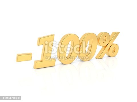 istock Discount - 100 percent gold numbers on a white background. 1136470006