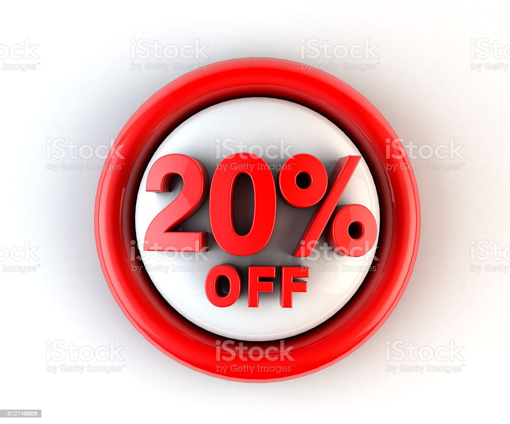 Discount 20 off 3D word isolated stock photo