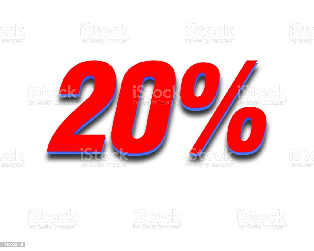 Discount 20 percent off. Red  3D illustration on white background stock photo