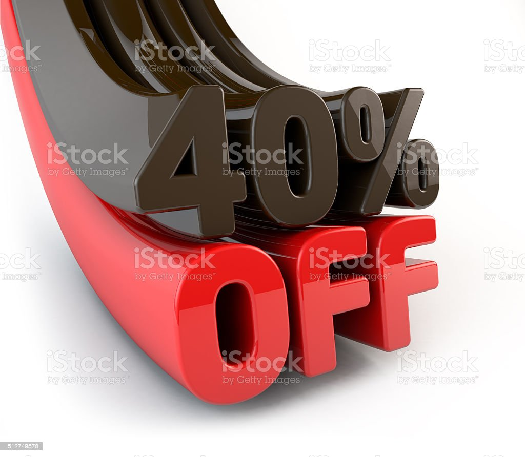 Discount 40 off 3D word isolated stock photo