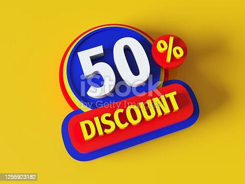 istock Discount 50% - 3d rendered concept banner badge design. Sale abstract creative layout. Bitmap raster digital illustration poster. Business finance sign. Advertising promotion badge. 1255923182