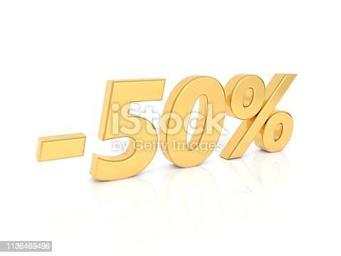 674991658 istock photo Discount - 50 percent gold numbers on a white background. 1136469496
