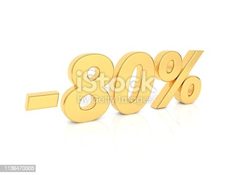 674991658 istock photo Discount - 80 percent gold numbers on a white background. 1136470005
