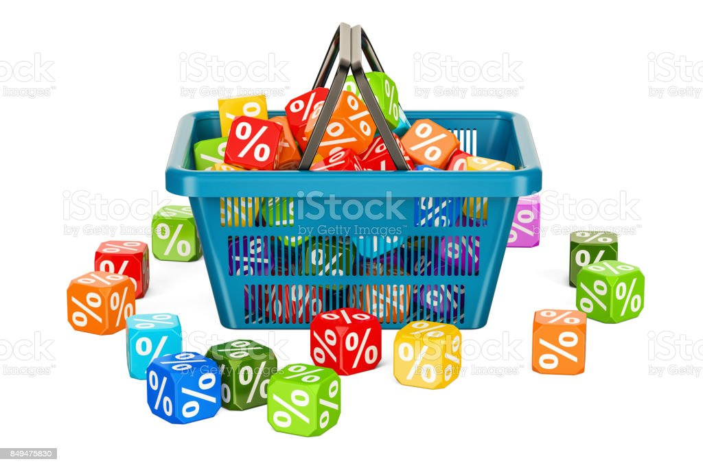 Discount and sale concept with shopping basket, 3D rendering isolated on white background stock photo