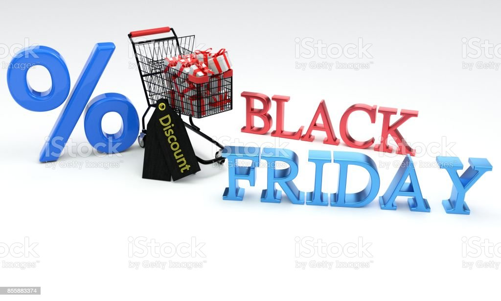 Discount black friday concept, 3d stock photo