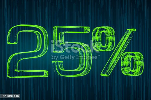 istock Discount concept, 25 percent luminous inscription, 3D rendering 871381410