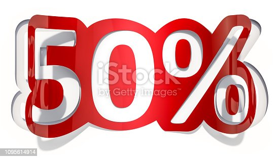 istock Discount concept, 50% inscription cut from paper, 3D rendering 1095614914