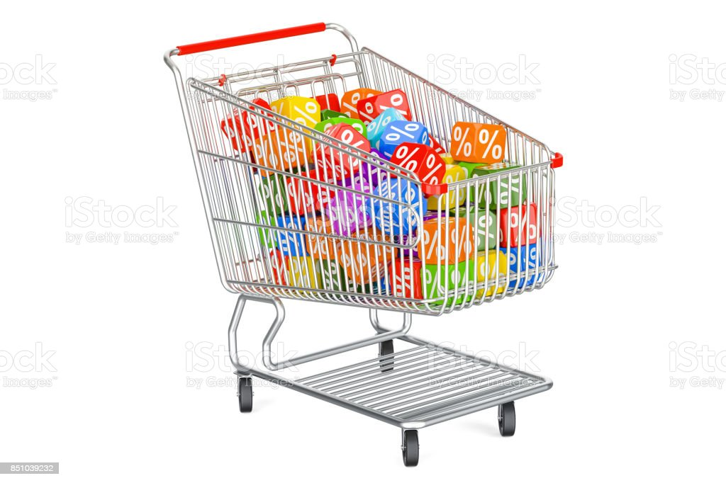 Discount concept with shopping cart. 3D rendering isolated on white background stock photo
