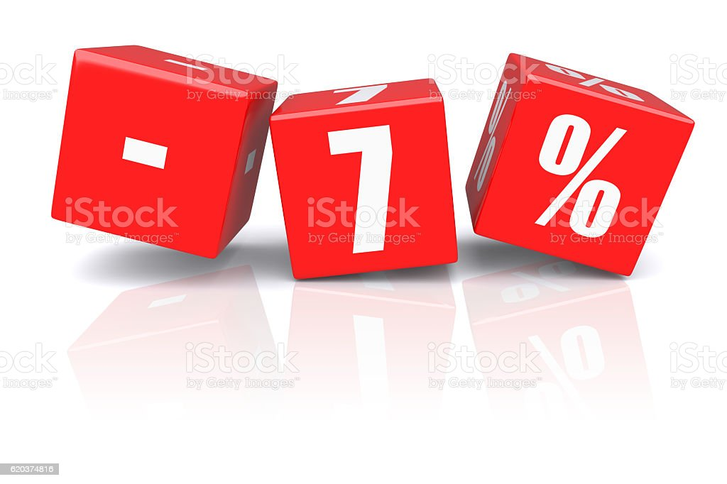 7% discount cubes on a white foto de stock royalty-free