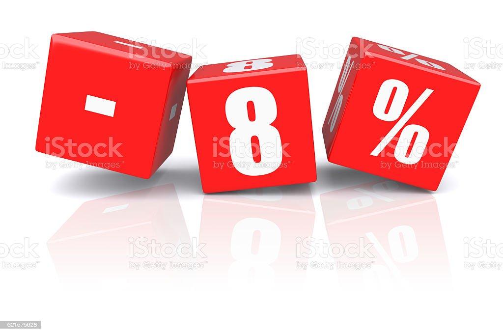 8% discount cubes on a white photo libre de droits