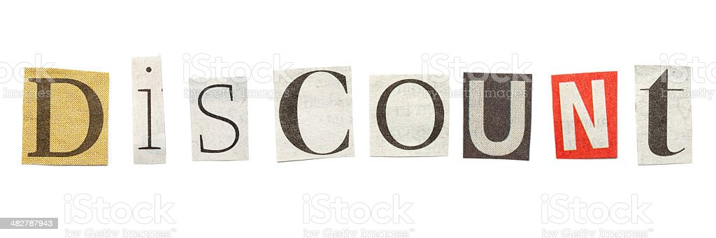 Discount cutout newspaper letters stock photo more pictures of discount cutout newspaper letters royalty free stock photo spiritdancerdesigns Gallery