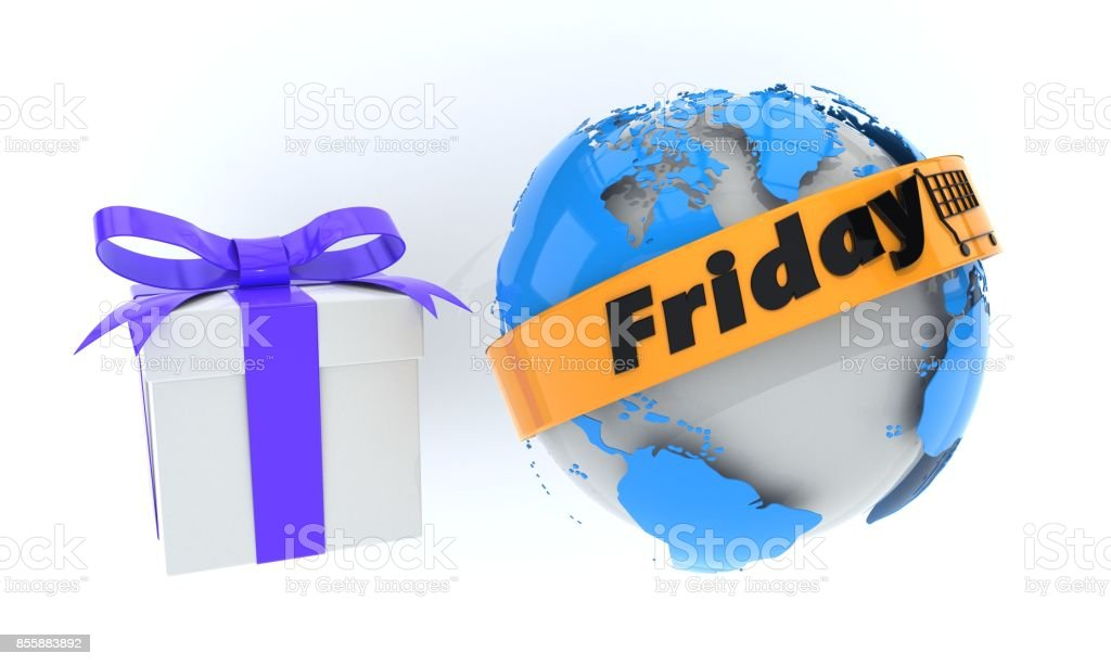 Discount friday gifts concept, 3d stock photo
