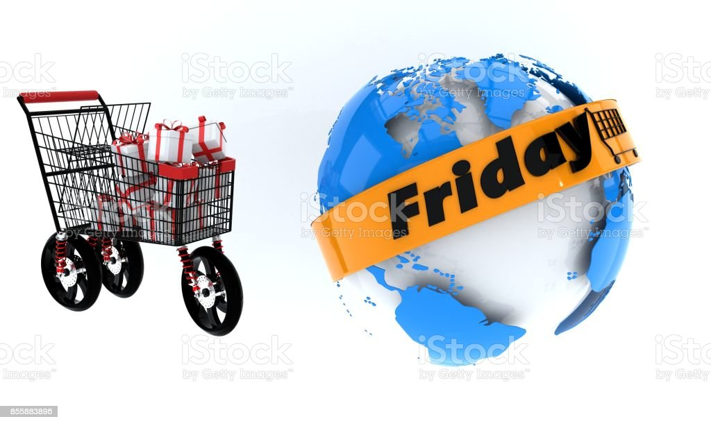 Discount friday shopping concept, 3d stock photo