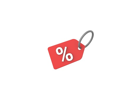 Discount icon isolated white background. 3D render sign model.