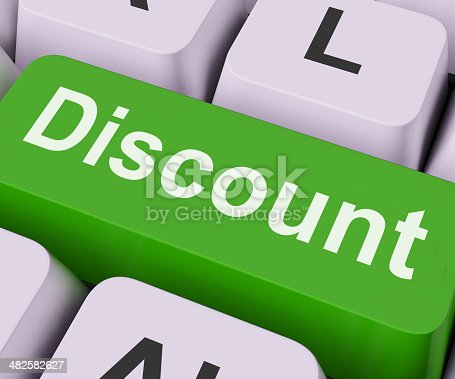 Discount Key On Keyboard Meaning Rebate Cut Price Or Reduce