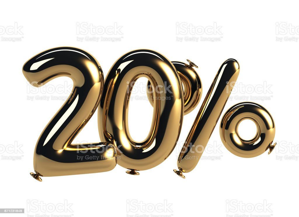 20% discount made of Glossy Helium Balloons stock photo
