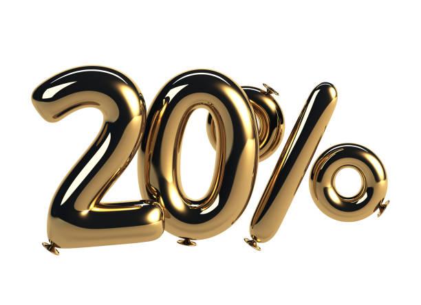 desconto de 20% de balões de hélio brilhante - foto de acervo
