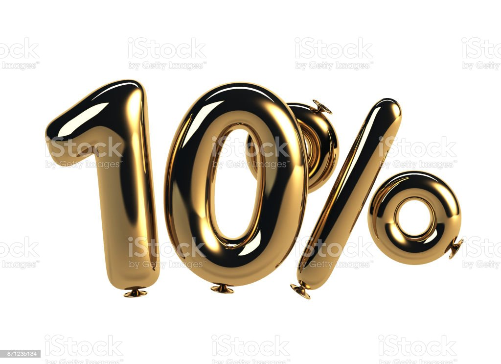 10% discount made of Glossy Helium Balloons stock photo