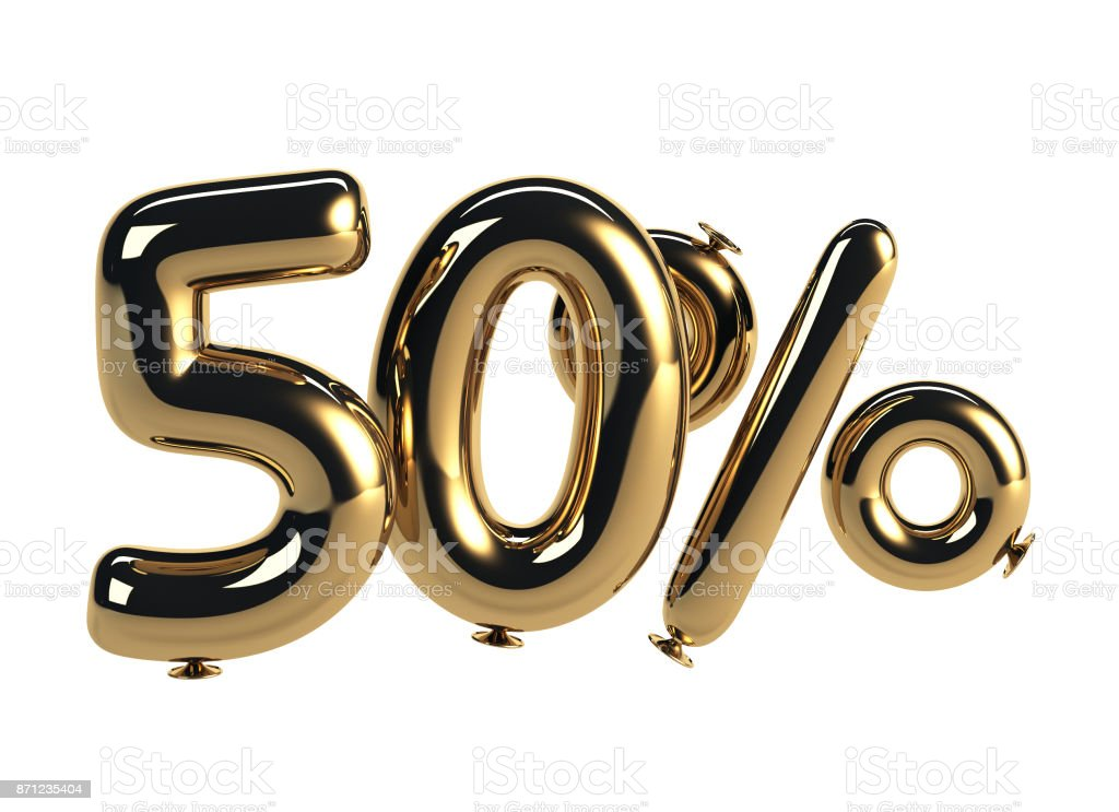 50% discount made of Glossy Helium Balloons stock photo