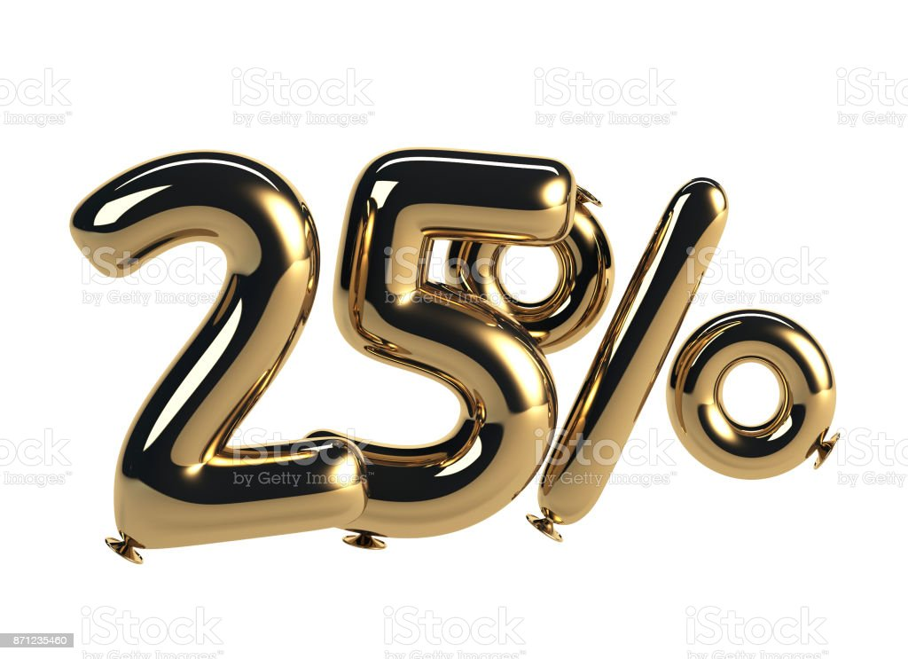 25% discount made of Glossy Helium Balloons stock photo