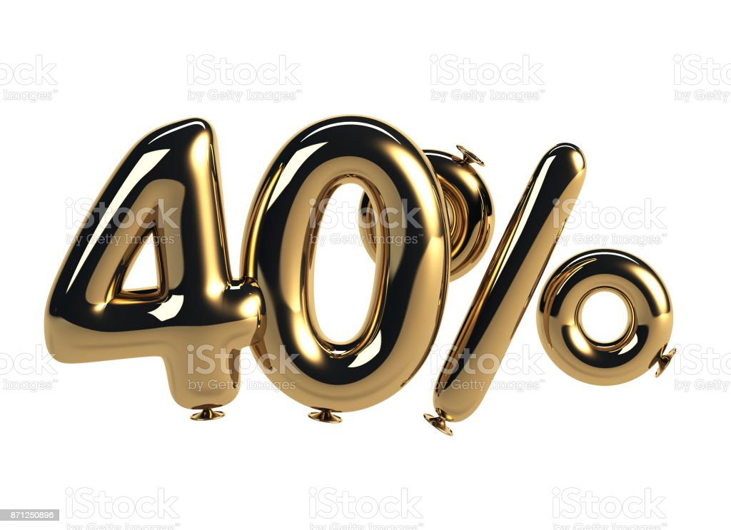 40% discount made of Glossy Helium Balloons stock photo