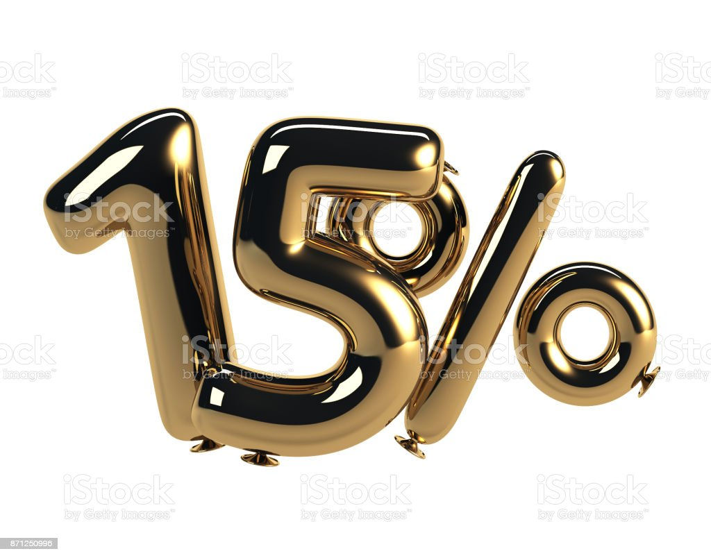 15% discount made of Glossy Helium Balloons stock photo