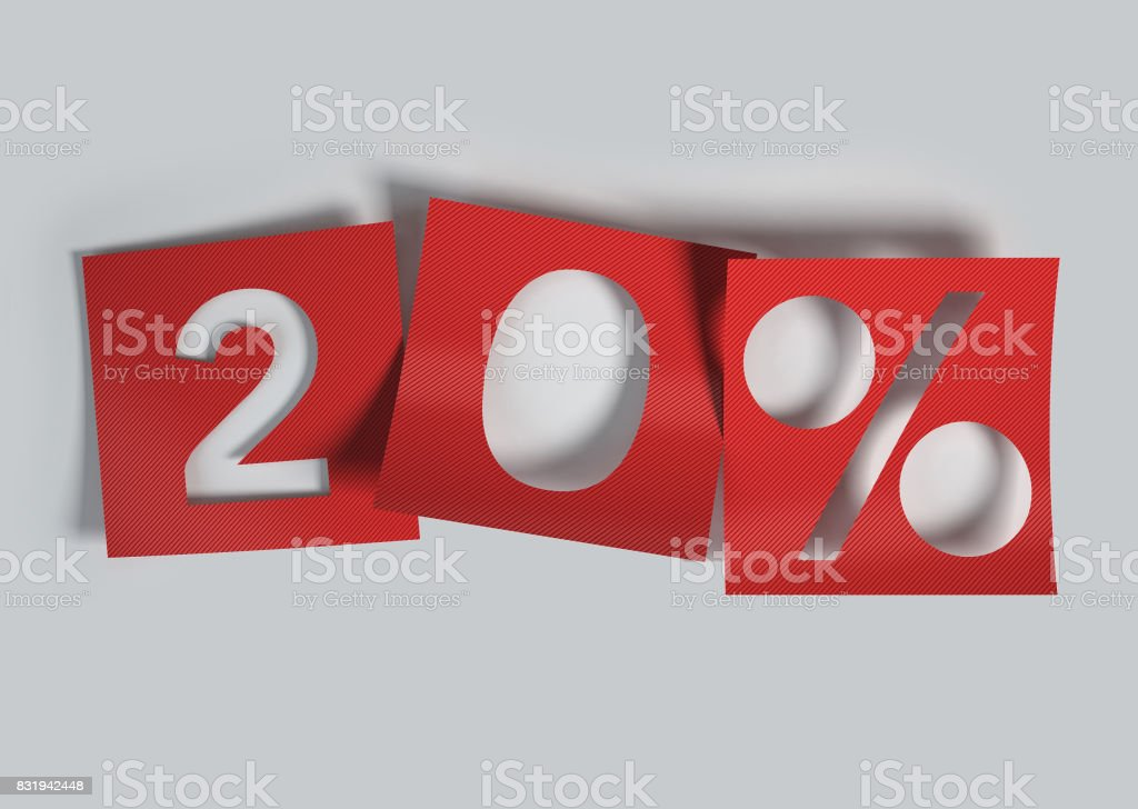 20% discount made of Red Curved Cut Out Paper. stock photo