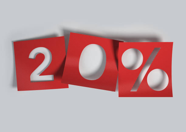 20% discount made of red curved cut out paper. - number 20 stock photos and pictures