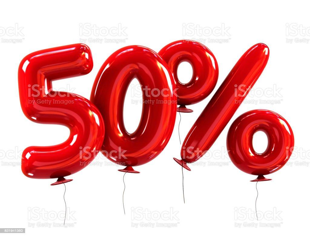 desconto de 50% feito de balões de hélio vermelho - foto de acervo