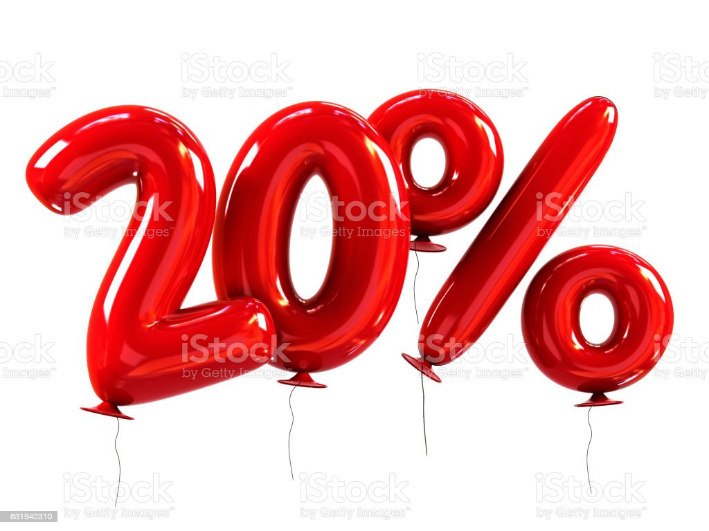 20% discount made of Red Helium Balloons stock photo