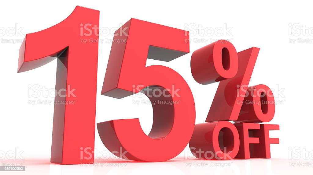 Discount Off 15 Percent stock photo