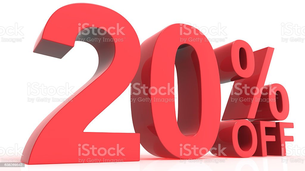 Discount Off 20 Percent stock photo