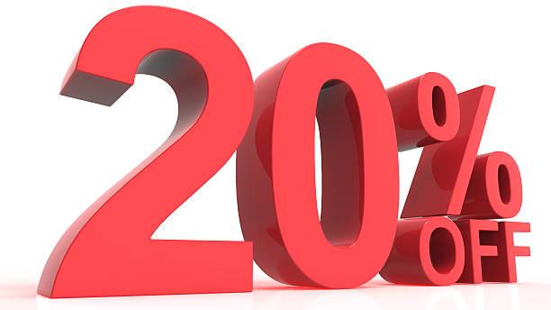 Discount Off 20 Percent stock photo