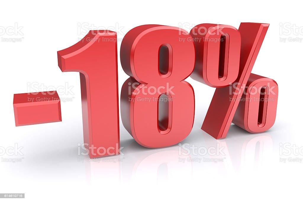 18% discount on a white stock photo