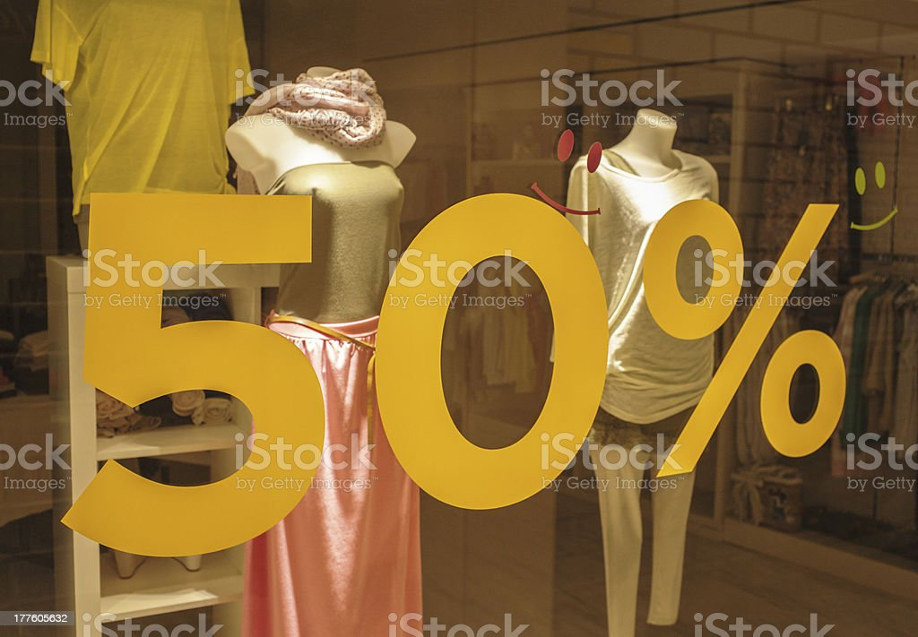 Discount On Boutique Window royalty-free stock photo