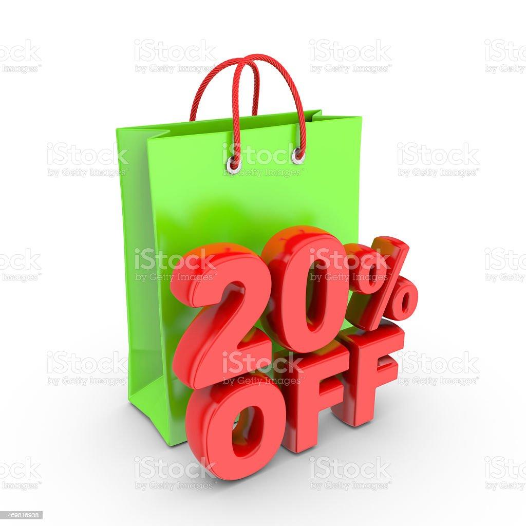 Discount on purchase of twenty percent. stock photo