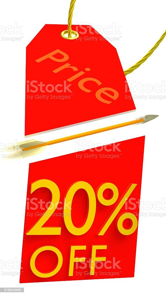 20% Discount or Sale in Price Tag Cut by Arrow stock photo