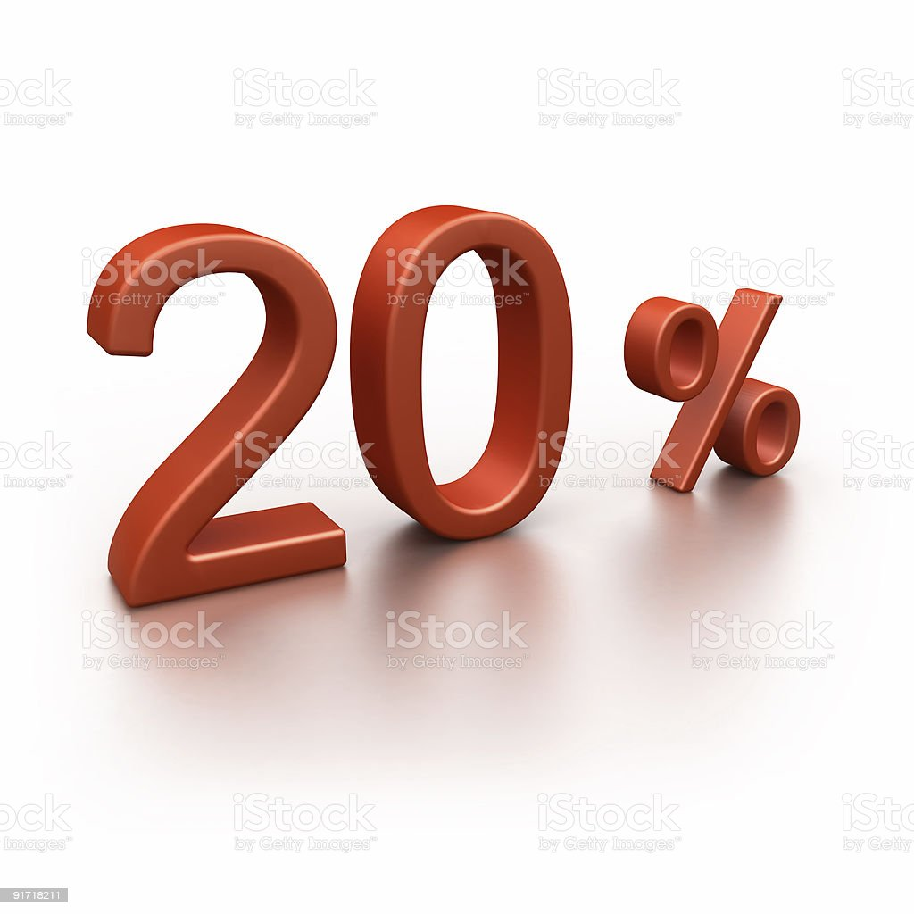 20% - discount (3d text, isolated on-white) royalty-free stock photo