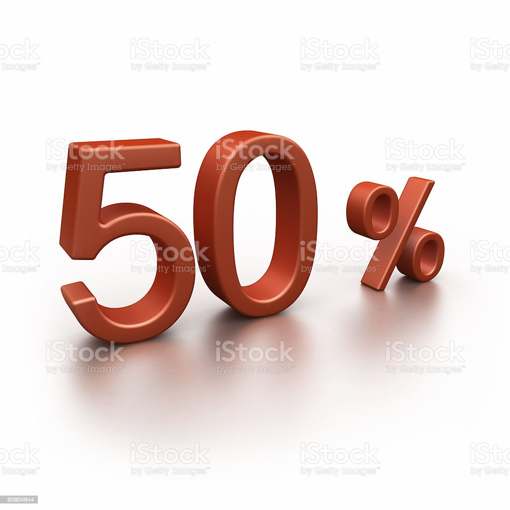 50% discount (isolated on white) royalty-free stock photo