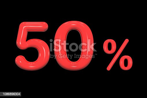 istock 50% discount, promotion sale percent made of realistic 3d glossy red paint sign isolated on black background, offer label, 3d rendering. 1086896304