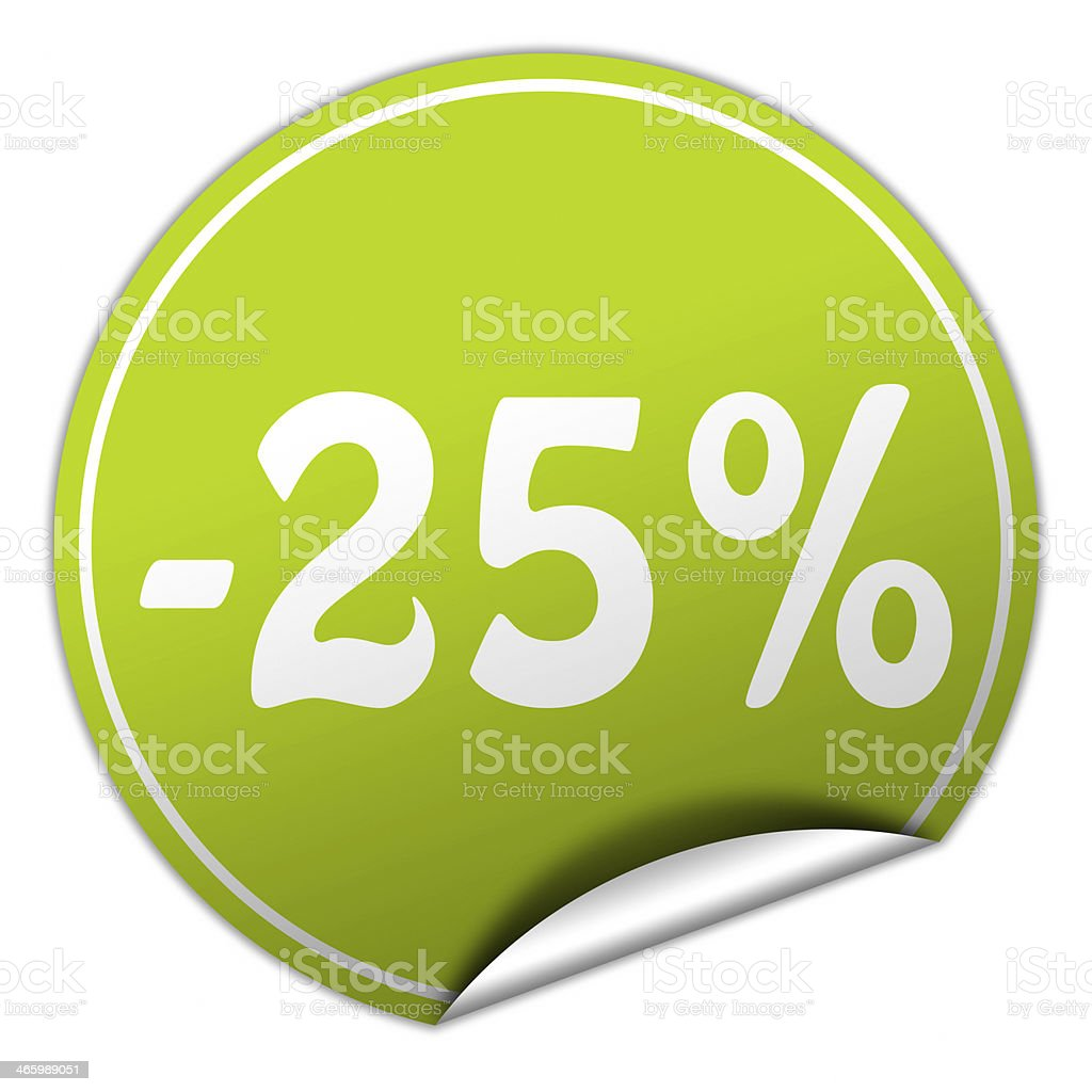 discount round green sticker on white background stock photo