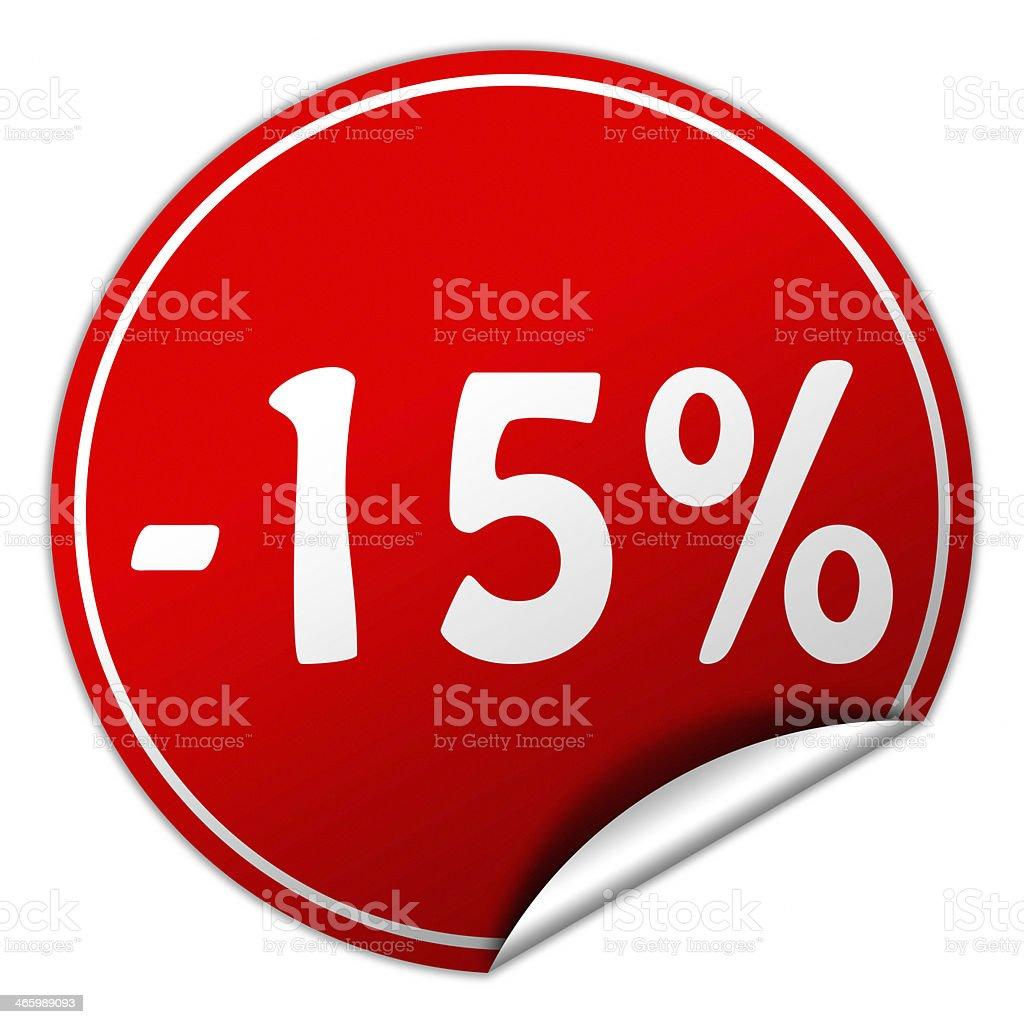 discount round red sticker on white background stock photo