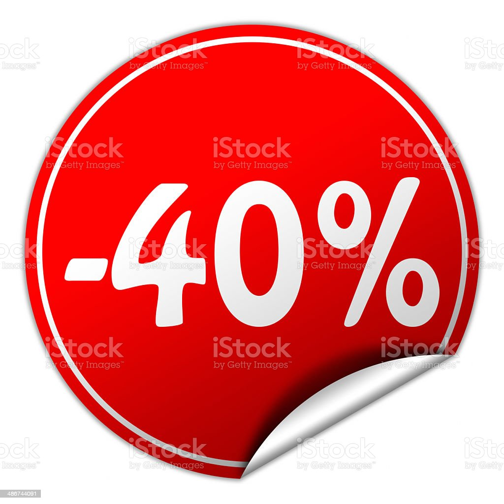 discount round red sticker on white background stock photo