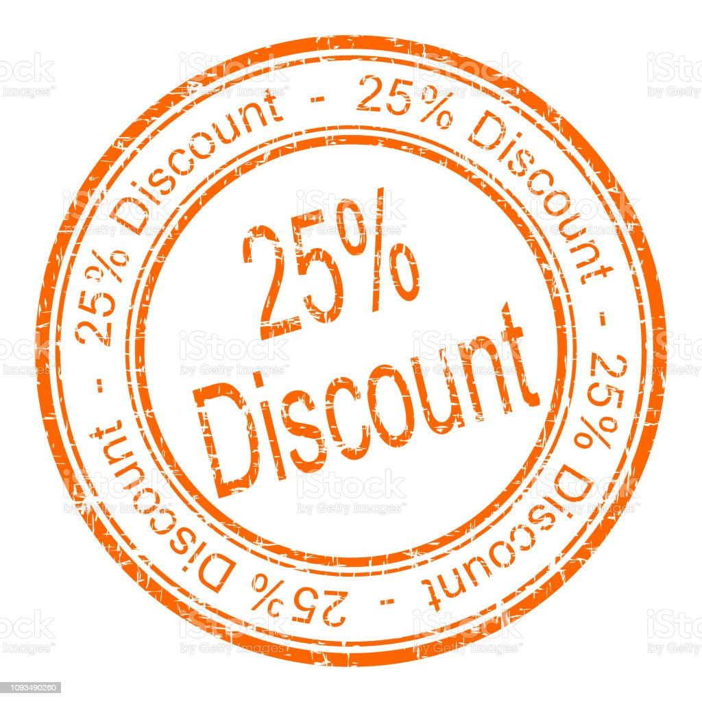 25% Discount rubber stamp – illustration stock photo