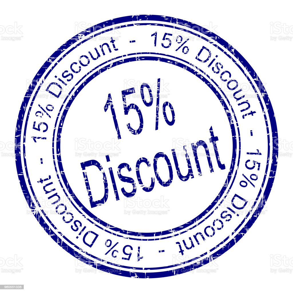 15% Discount rubber stamp - illustration stock photo
